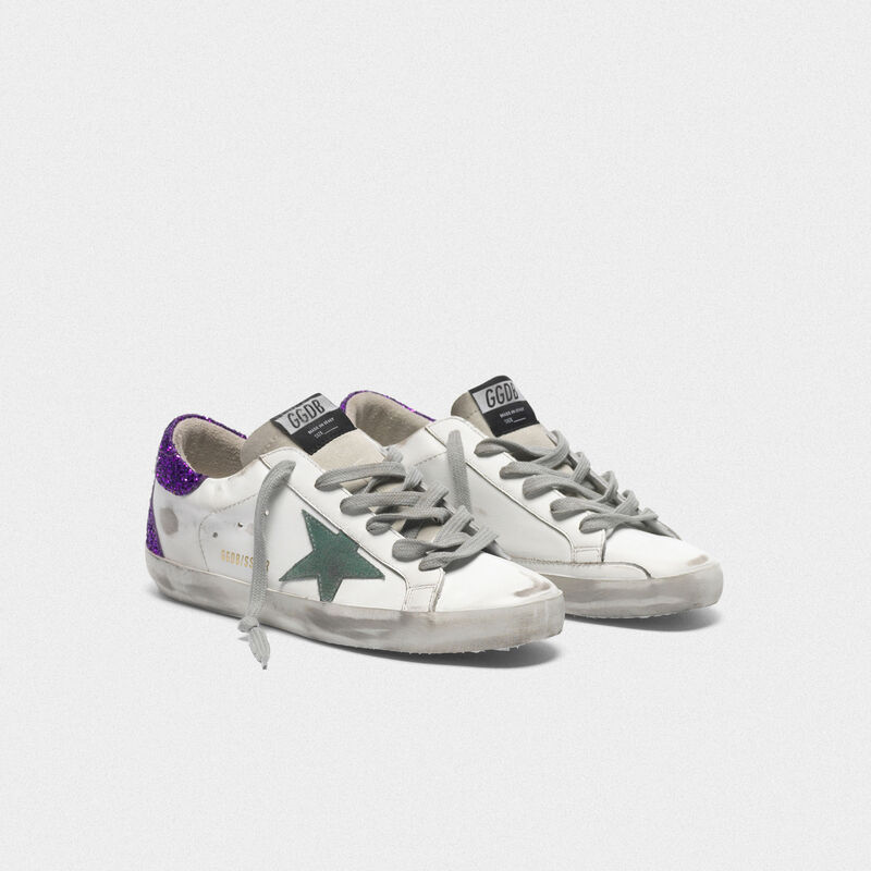 Golden Goose - White Superstar sneakers with glittery purple rear in  image number null