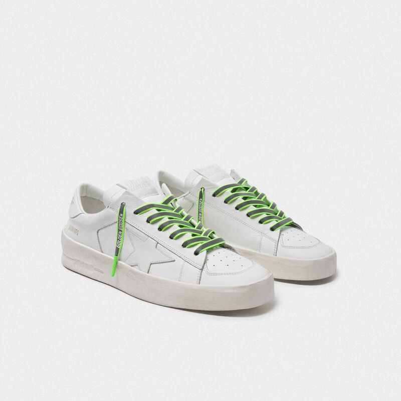 Golden Goose - Women's neon green reflective laces with logo in  image number null
