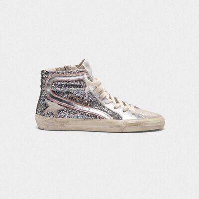 Sneakers Slide in pelle laminata silver e glitter