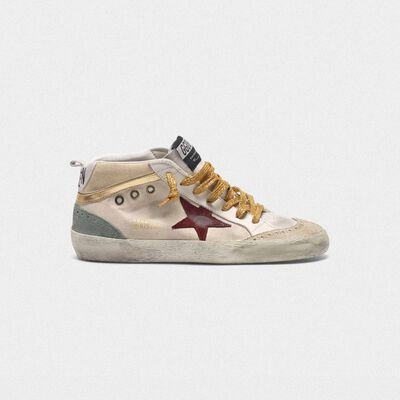 Mid-Star sneakers in canvas with gold-coloured inserts and red star