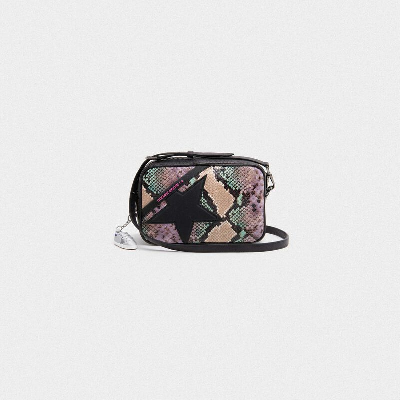 Golden Goose - Star Bag with python print and glitter star in  image number null