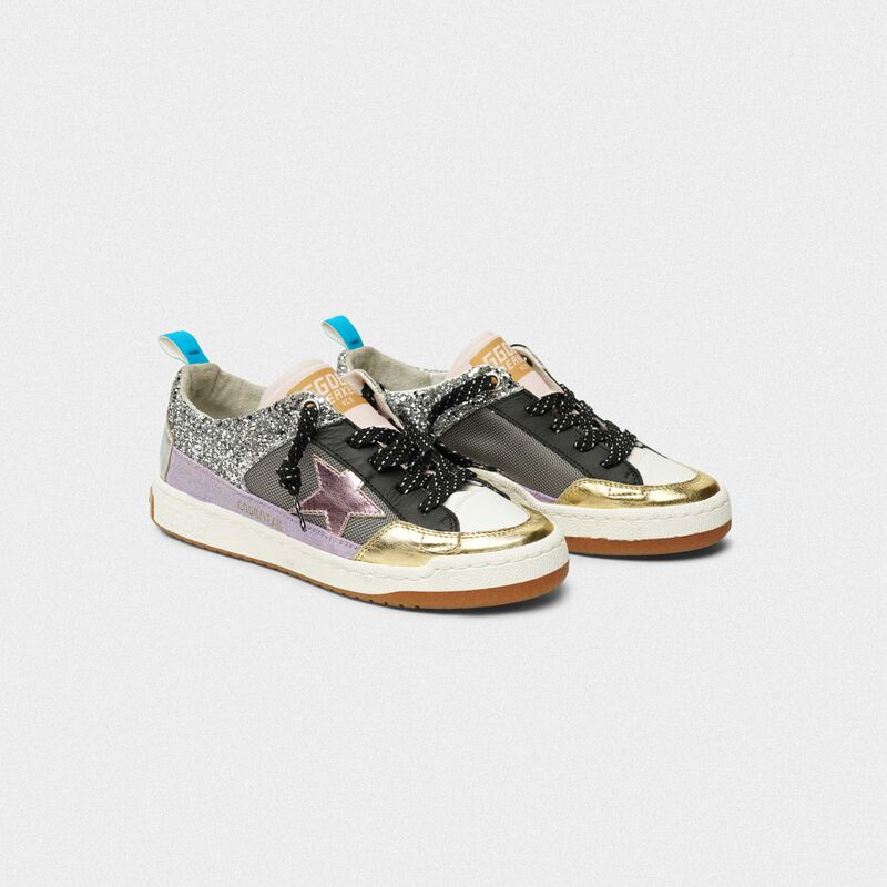 Golden Goose - Sneakers Yeah! in mesh argento e stella rosa in  image number null