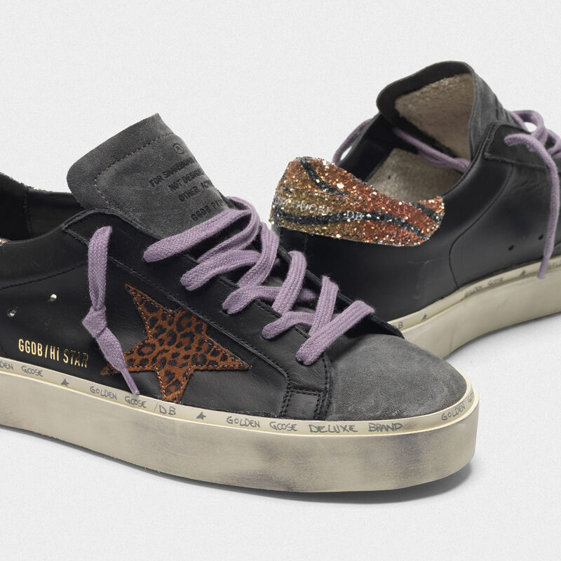 Golden Goose - Hi Star sneakers with leopard-print star and glittery zebra-print heel tab in  image number null