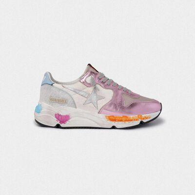 Sneakers Running Sole rosa laminate e stella argentata