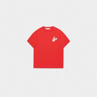 T-shirt Golden rossa con logo Golden rodeo