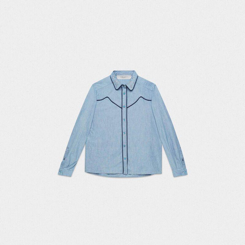 Golden Goose - Camicia Alexa in denim di cotone in  image number null