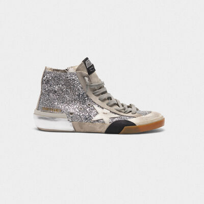 Francy sneakers in patchwork style with multi-foxing technique and glitter upper