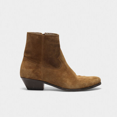 Younger ankle boots in mustard suede leather