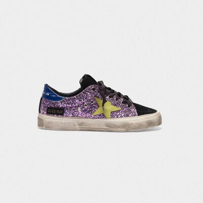 Sneakers May in glitter e pelle scamosciata