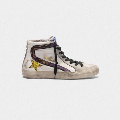 Sneakers Slide con logo in stampa serpente