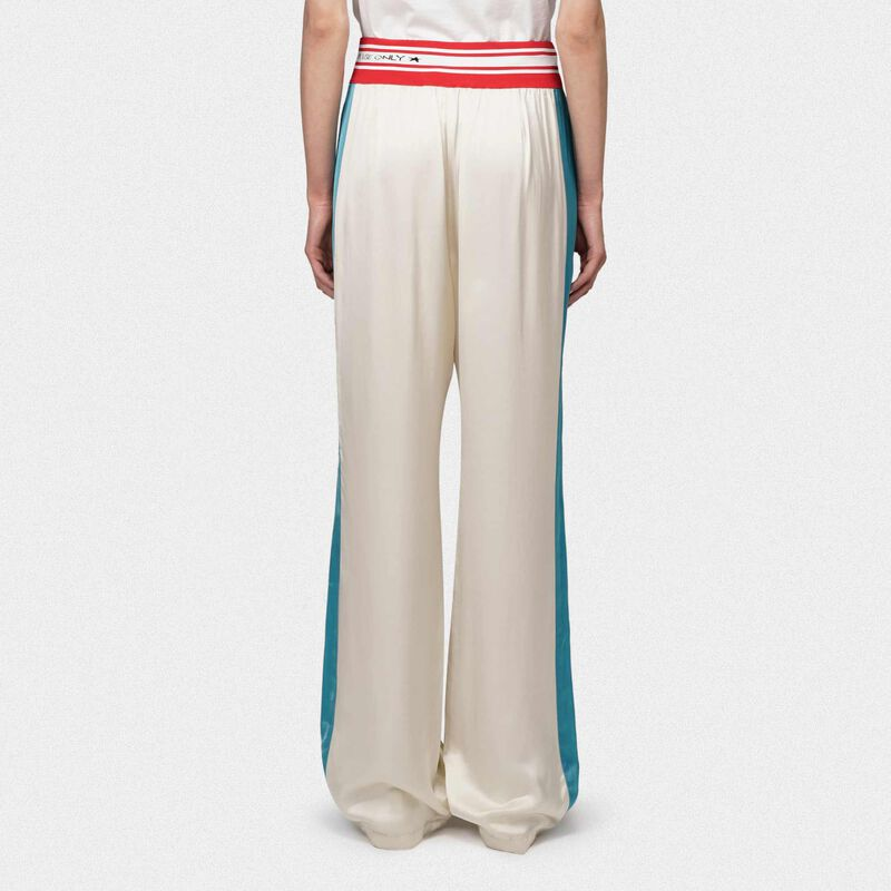 Golden Goose - Betty joggers in beige with blue bands and elasticated waistband in  image number null