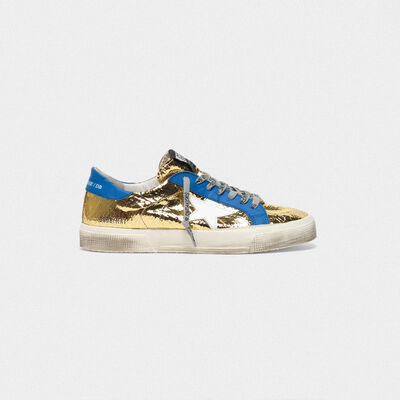 May sneakers in laminated leather with crackle effect