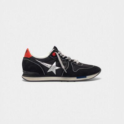 Sneakers running in black suede con stella a contrasto