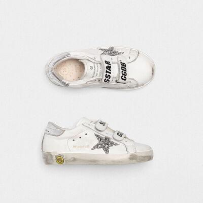 Sneakers Old School bianche con stella glitter talloncino argento