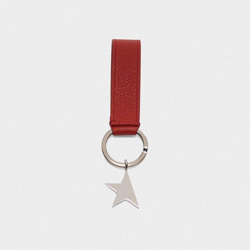 Golden Goose - Portachiavi Star Keyring rosso con ciondolo argento in  image number null
