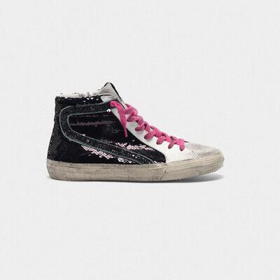 Sneakers Slide con paillettes nere