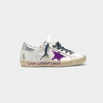 "Superstar sneakers in leather with ""Love without limits"" lettering"