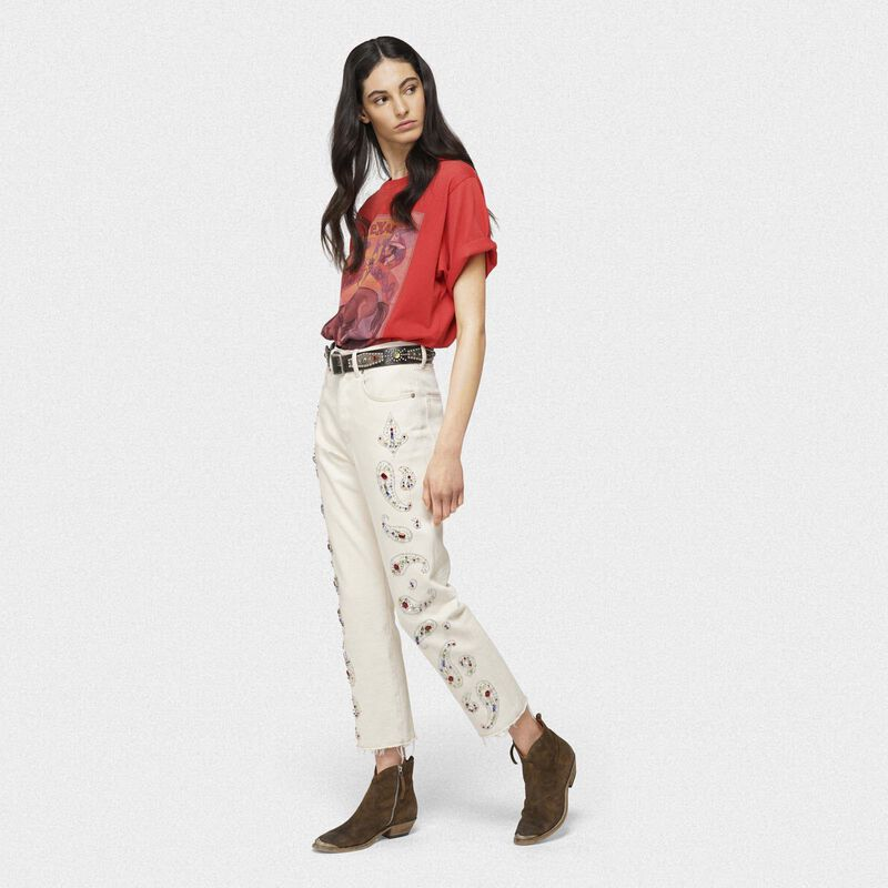 Golden Goose - Texas denim jeans with rhinestone and stud-embroidered decorations in  image number null