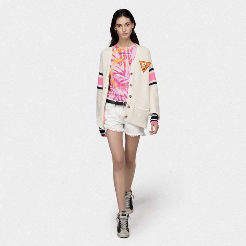 Golden Goose - Katy cardigan in cotton piquet with embroidery on the back in  image number null