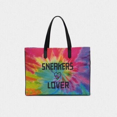 California East-West tie-dye bag with Sneakers Lover print