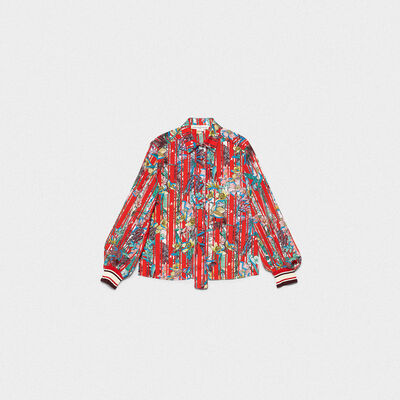 Isako shirt in striped fabric with Japanese flowers