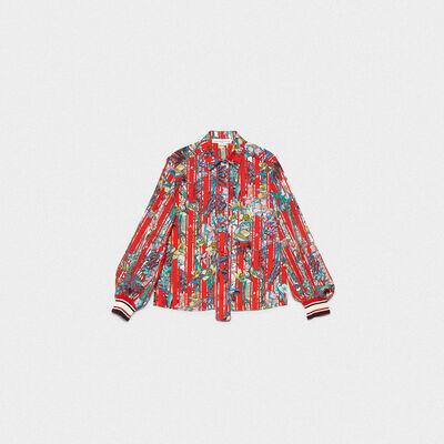 Camisa Isako de tejido a rayas con flores japonesas