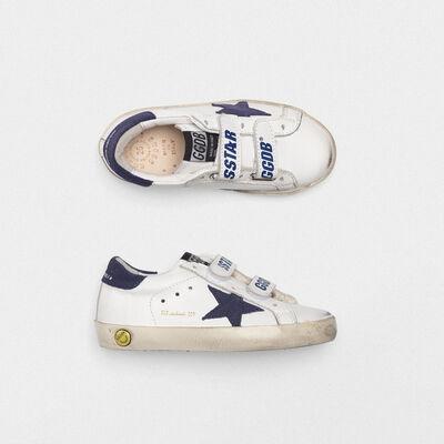Sneakers Old School chiusura a strappo e stella navy