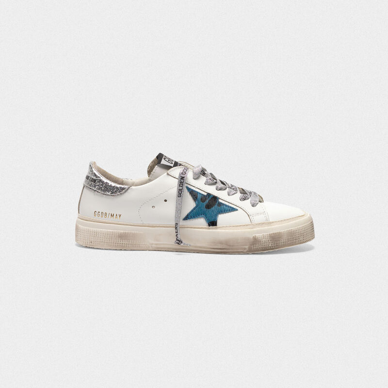 Golden Goose - May sneakers with animal print star and glitter heel tab in  image number null