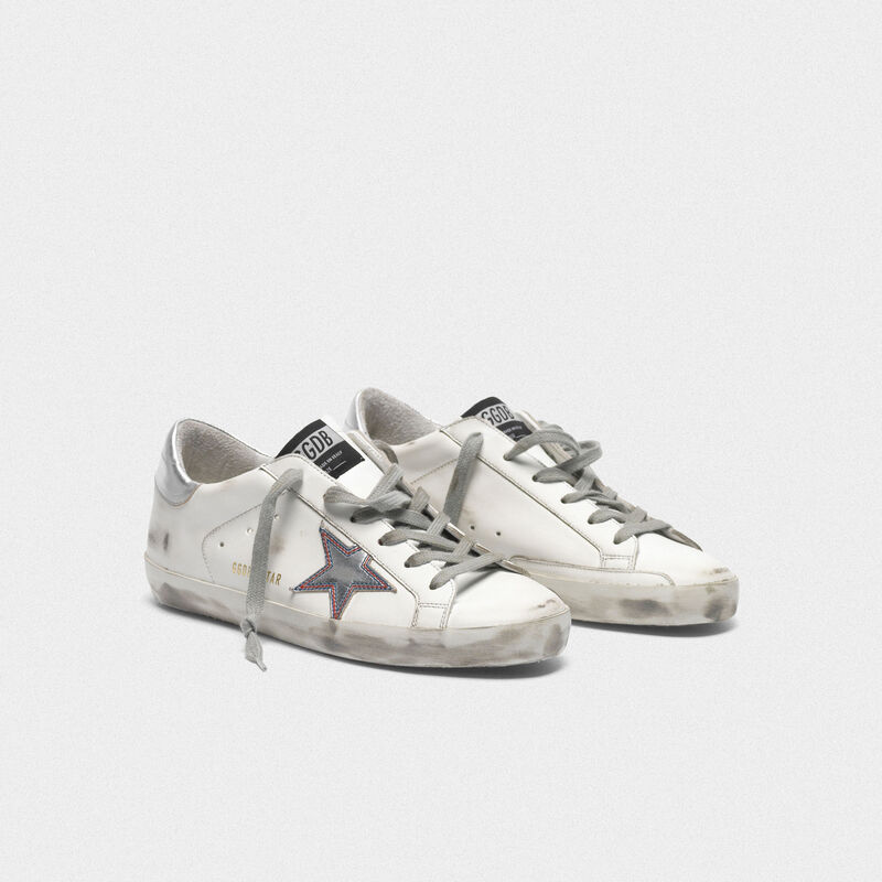 Golden Goose - Silver star Superstar sneakers with contrasting stitching in  image number null