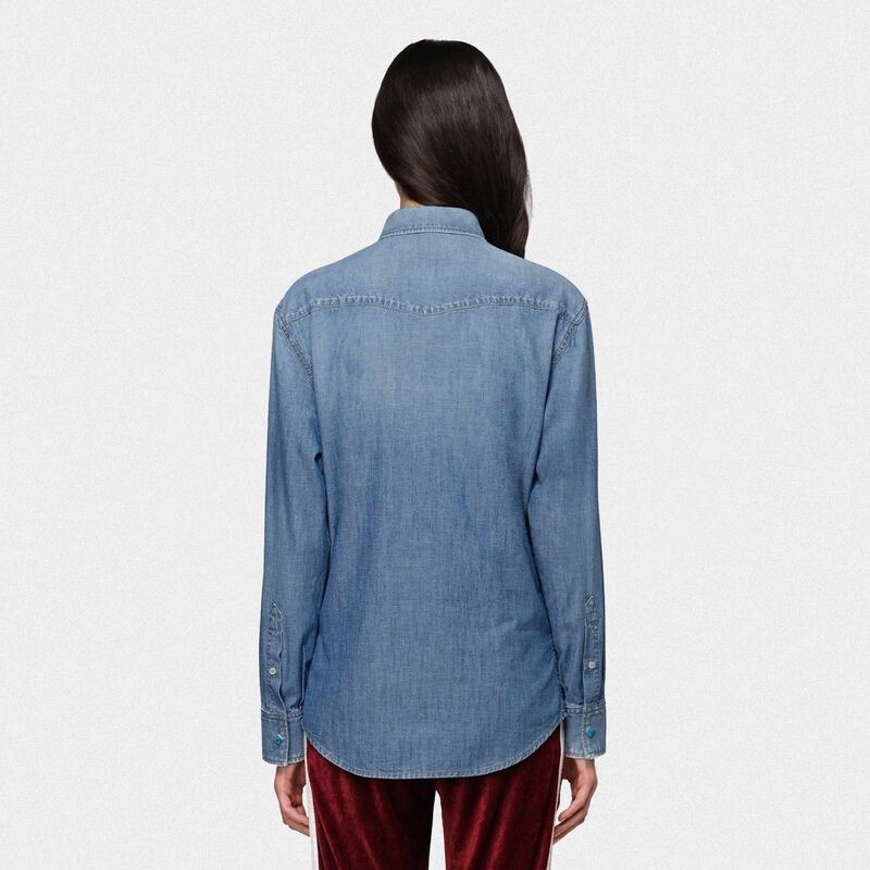 Golden Goose - Camicia Meredith in denim di cotone in  image number null