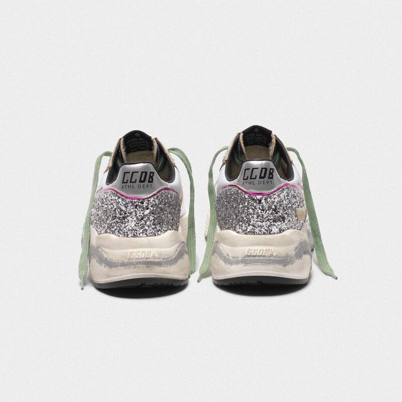 Golden Goose - Silver Running Sole sneakers with glitter and fuchsia edging in  image number null