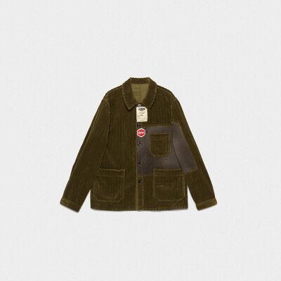 Taro jacket in corduroy velvet with decorative labels