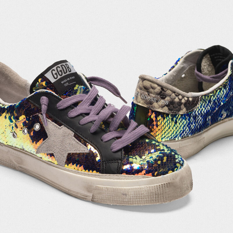 Golden Goose - May sneakers with sequins and snake-print heel tab in  image number null