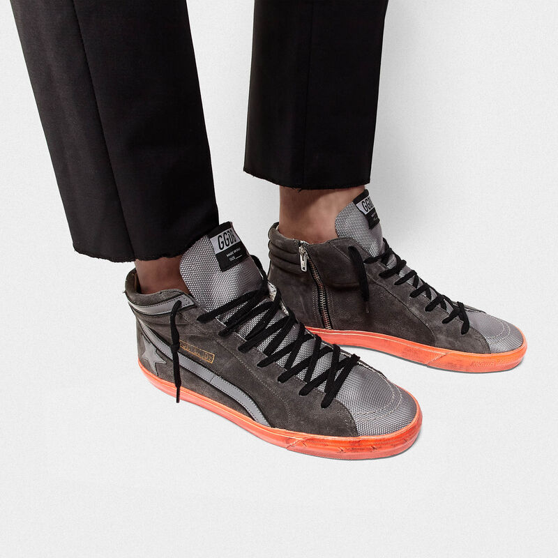 Golden Goose - Slide sneakers in suede with high-vis inserts and varnished sole in  image number null