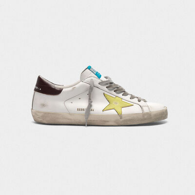 Superstar sneakers with yellow star and burgundy heel tab