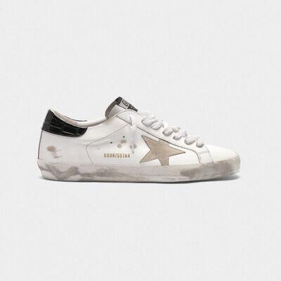 Sneakers Superstar bianche con talloncino nero stampa cocco