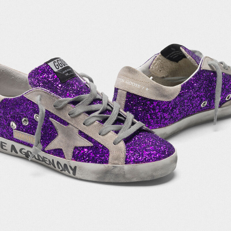 Golden Goose - Sneakers Superstar in glitter con scritta in  image number null