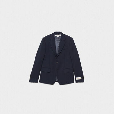 Venice single-breasted jacket in wool crêpe