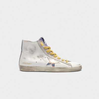 Sneakers Francy con stella iridescente e bande in glitter