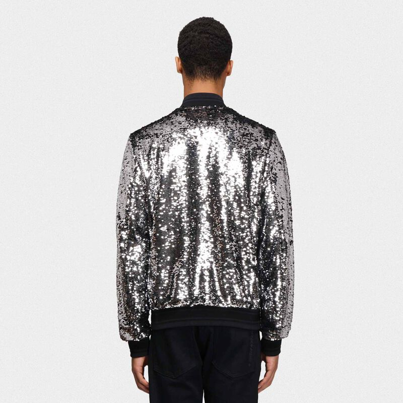 Golden Goose - Bomber Joshua con paillettes argentate in  image number null
