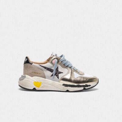 Sneakers Running laminate, inserto in nabuk e stella glitter