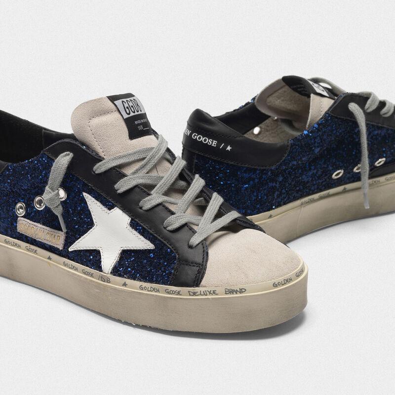Golden Goose - Sneakers Hi Star in suede con glitter blu in  image number null