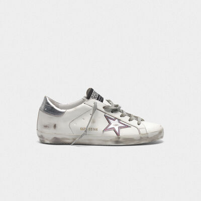 Silver star Superstar sneakers with contrasting stitching
