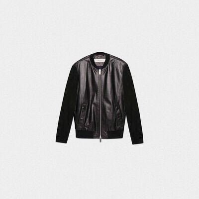 Black leather Dylan bomber jacket