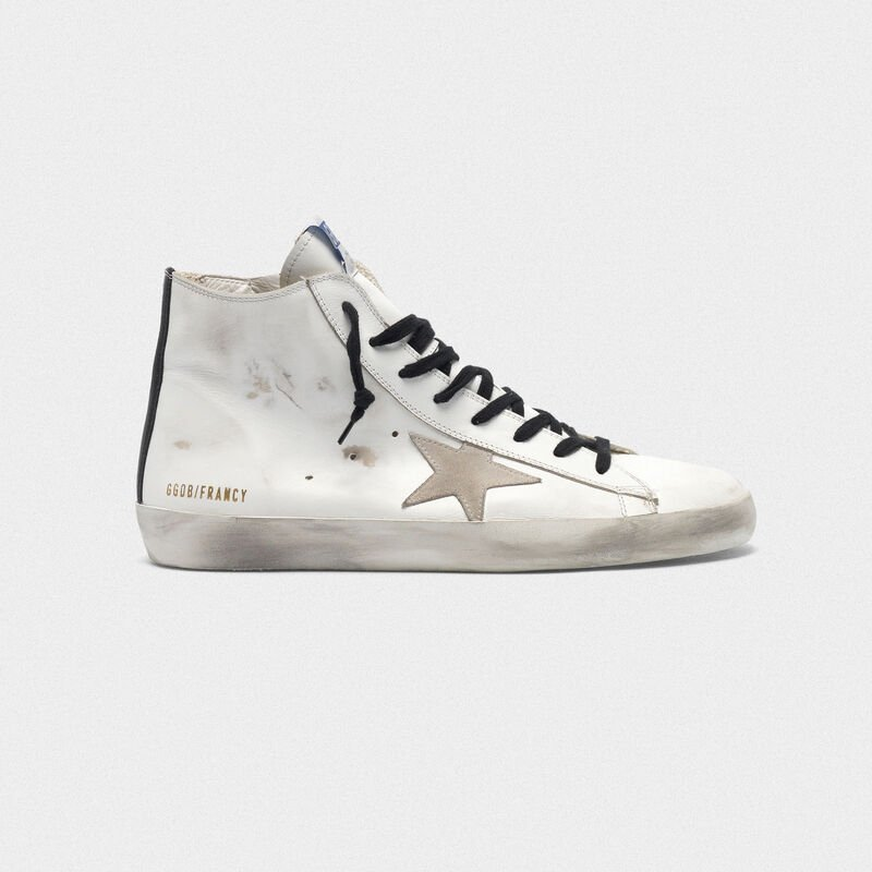 Golden Goose - Sneakers Francy in pelle con stella in suede e suola blu in  image number null