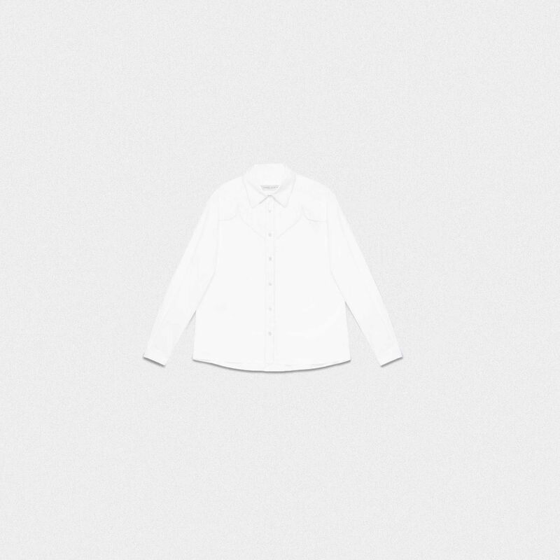 Golden Goose - White Madelyn shirt in cotton poplin in  image number null