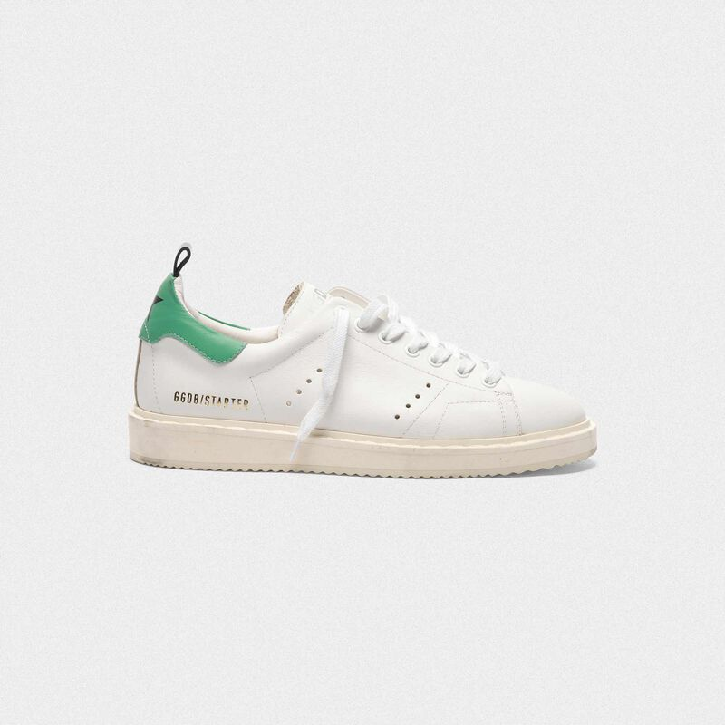 Golden Goose - Starter sneakers in leather with green heel tab in  image number null