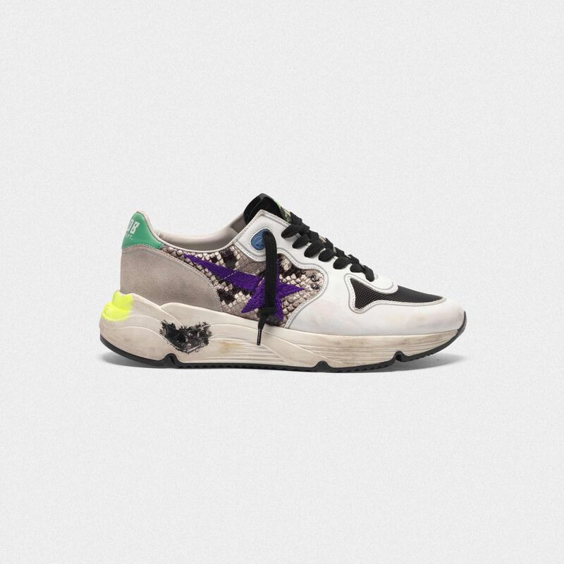 Golden Goose - Running Sole sneakers in snakeskin print leather with purple embroidered star in  image number null