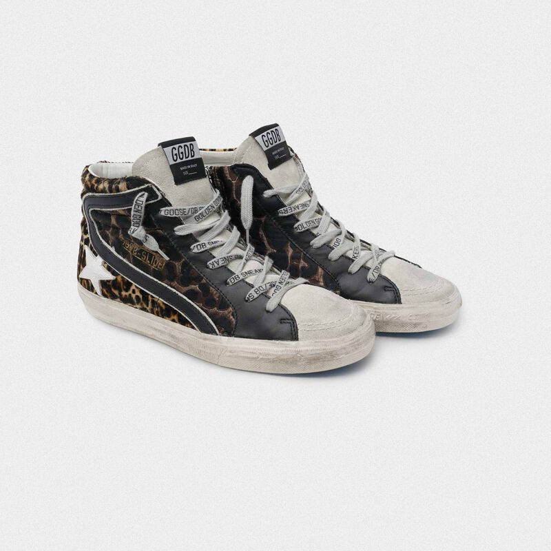 Golden Goose - Sneakers Slide in pelle con stampa leopardata in  image number null