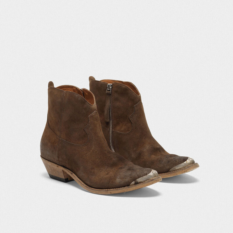 Golden Goose - Stivaletti Young in suede caffè in  image number null